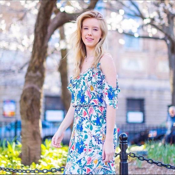 Parker Dresses & Skirts - Parker Cold-Shoulder Floral Ruffle Dress